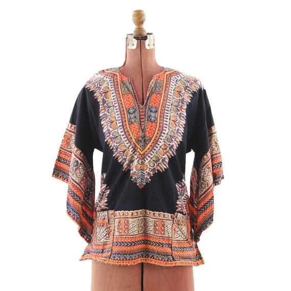 Vintage 1970's Dark Dashiki Bohemian Dreams Bell Sleeve Tunic M
