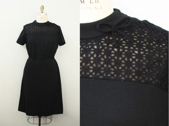 "1960s wool dress / CROCHET  Bow detail / wool knit dress / 44"" Bust 38"" Waist"
