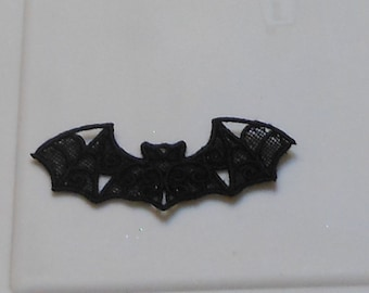 Halloween Lace Applique for Crafts, Ornament or Crazy Quilt - Black Bat