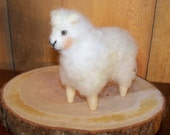 Needle Felted White Wooly Sheep Handcrafted