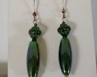 "Very CLASSY  1 1/2"" drops on STERLING HOOPS, dark green"