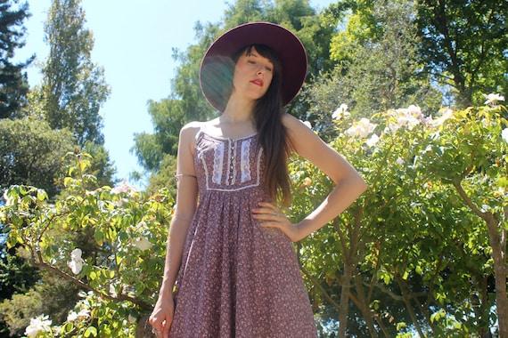70s GUNNE SAX Lilac Purple Lace Trim Maxi Prairie Peasant Dress Size S / XS