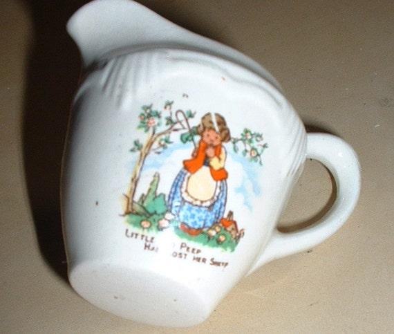 vintage kids miniature little bow peep jug