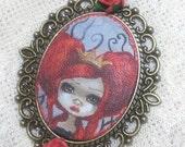 Taradolls RED Queen OOAK original painting cameo necklace art doll big eyes art Alice in Wonderland