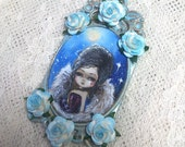 Taradolls OOAK original painting cameo necklace art doll big eyes art Fairy