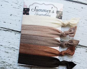 Elastic Hair Ties - Neutral Hair Ties - Creaseless - Knotted Hair TiesReady to Ship