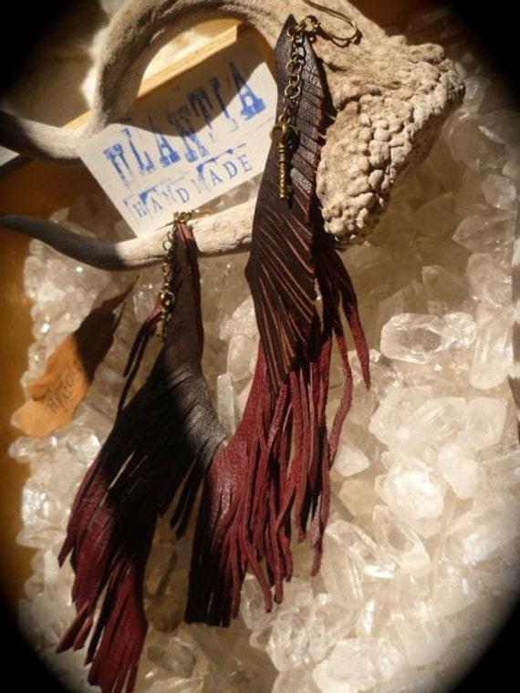 dark red leather earrings, leather earrings, extra long earrings, shoulder duster earrings