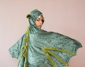 RESERVED for grodkiewicz - Dragon Costume, Party Fairy Tale Dragon Green Costume or Halloween Costume with Wings for Boys or Girls oht