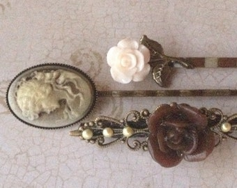 Vintage Bobby Pins, Flower Hair Clips, Bobby Pins, Hair Pins, Hair Clips, Hair Barrettes