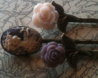 Cameo Bobby Pin, Bobby Pins, Hair Accessories, Flower Bobby Pins, Hair Pins