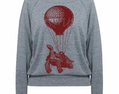 Flying TURTLE Hot Air Balloon Sweatshirt Tri-Blend Raglan Pullover - American Apparel - S M and L (8 Color Options)