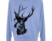 Elk in Glasses Womens Wide Neck Deer Woodland Sweatshirt Raglan Pullover Sweater  - American Apparel - S M and L (6 Color Options)