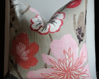 Designer Pillow Cover -20x20- FLORAL-Jelly Bean-Accent Pillow-Toss Pillow-Pink Pillow Red, Taupe-SPRING
