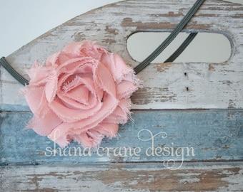 Phyllis . Headband . Shabby Chiffon Flower . Muted Mauve