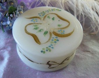 Vintage Milk Glass Painted Vanity Jar, Trinket box, Hand Painted blue and white Flowers with gold bows, Shabby Chic, Spring Gift Idea