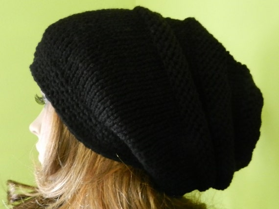 Slouchy Hat, Chunky Slouch Big Beanie, Winter slouch Cap - Hand Knitted Hippie Hat in  BLACK