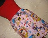 OOAK Shorter Length Pink Female Superhero Mini Skirt with Wonder Woman, Batgirl and Supergirl-  High Waisted Ladies - Handmade Ready to ship