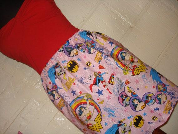 Pink Female Superhero Mini Skirt with Wonder Woman, Batgirl and Supergirl-  High Waisted Ladies - Handmade Ready to ship