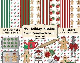 My Holiday Kitchen Digital Scrapbooking Kit - Chirstmas Clipart, Food Clipart, Kitchen Clipart, Holiday Digital Papers, Digital Backgrounds