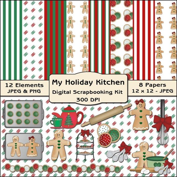 Items similar to my holiday kitchen digital scrapbooking for Scrapbooking cuisine