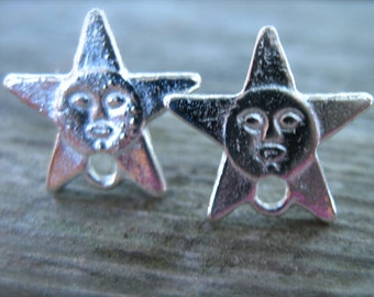Silver Star Post Earrings, 6 Pairs,  Face in a Star, Post Earrings with Loop, Matching Butterfly Backs, Nickel Free