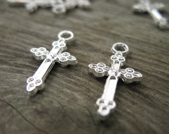 12 Silver Plated Cross Charms 20mm