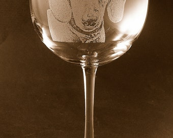 Etched Dachshund on Large Elegant Wine Glass (set of 2)