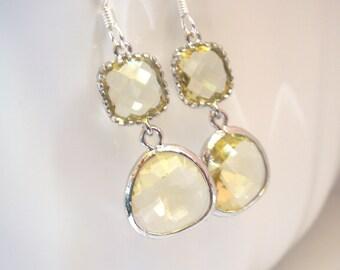 Yellow Earrings, Lemon Earrings, Silver Soft Yellow Citrine, Wedding Jewelry, Bridesmaid Earrings, Bridal Earrings Jewelry, Bridesmaid Gift