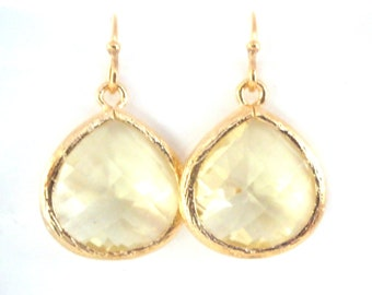 Gold Yellow Earrings, Lemon Earrings, Soft Yellow, Citrine, Wedding Jewelry, Bridesmaid Earrings, Bridal Earrings Jewelry, Bridesmaid Gifts