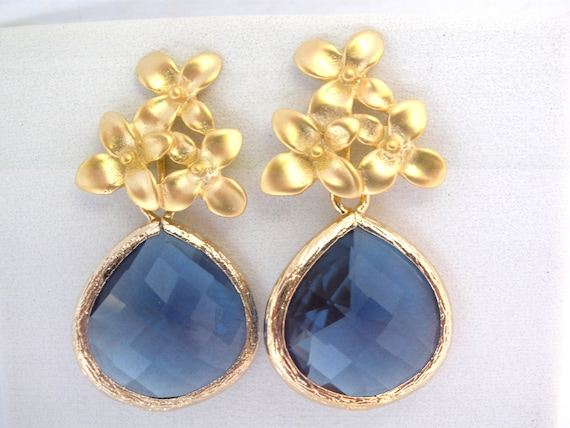 Blue Earrings, Glass Earrings, Flower Earrings, Montana Blue, Gold Earrings, Bridesmaid Earrings, Bridal Earrings Jewelry, Bridesmaid Gifts