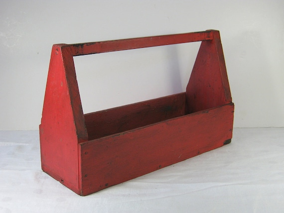 Vintage Wood Toolbox Tool Box Rustic Red Storage Primitive Tools