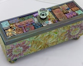 """Box with Polymer Clay Tiles """"Flower Garden"""""""