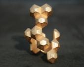 POPULATE - Yellow gold modern geometric 3D printed ring