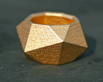 GEO MAD - Yellow gold modern geometric 3D printed chunky ring