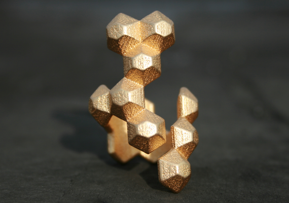 POPULATE - Yellow gold modern geometric 3D printed ring