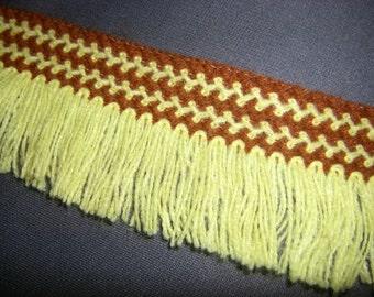 Yellow and Brown Vintage Fringe Trim 2 yards