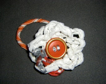 Double Plarn Flower Ponytail Holder with Vintage Button red orange and white