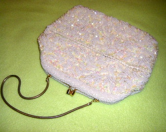 Vintage Elegant Ivory Beaded and Sequinned Purse