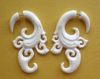 White Bone Fake Gauges - PURLA - Hand Carved Tribal Earrings