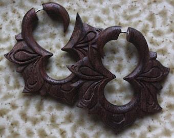 MAYA Flower Hoops - Hand Carved Fake Gauges - Natural Dark Brown Sono Wood - Tribal Earrings