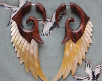 HEAVENLI Wing Earrings - Handcarved Mother of Pearl and Brown Sono Wood