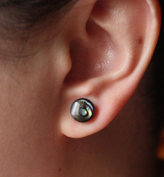 Fake Plugs - Hand Carved Abalone Shell and Horn - BUTTON Earrings