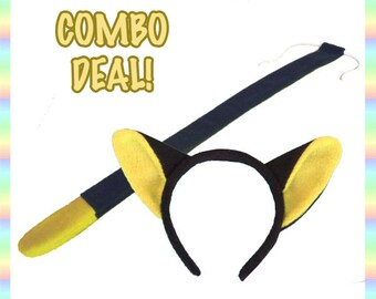 Black and Yellow Cat Ears and Tail COMBO - Antipill Fleece, Cute Kitty Anime Animal Cosplay Costume