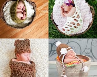 Photographer Starter Set Newborn Photo Prop Teddy Bear Cocoon Set Earflap Hat Stork Pouch Hanging Sack Nesting Bowl Pod