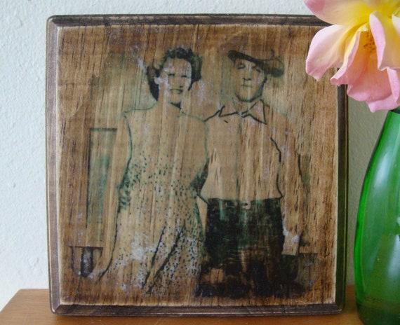 """SALE, custom family photos on wood 7""""X7"""", gift under 50"""