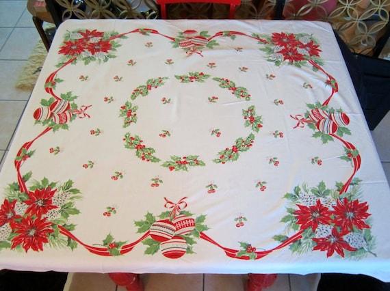 Vintage Retro Christmas Tablecloth 45 X 50circa