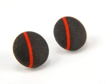 Red line in black large stud earrings -  fabric button with surgical steel posts