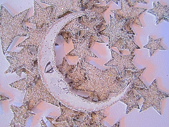 Custom Listing for Jena- Hand Glittered  - Silver Glitter -Set Of 3 Moons -add on
