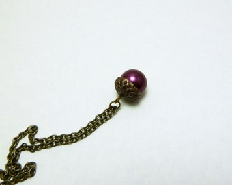 Burgundy Acorn Pendant - Glass Pearl Acorn Necklace