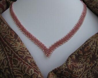 Pink Necklace, Beadwoven, Peyote, V, Topaz, Festive, Ribbon of Beads